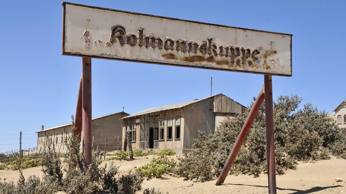 Schild von Kolmannskuppe in Namibia