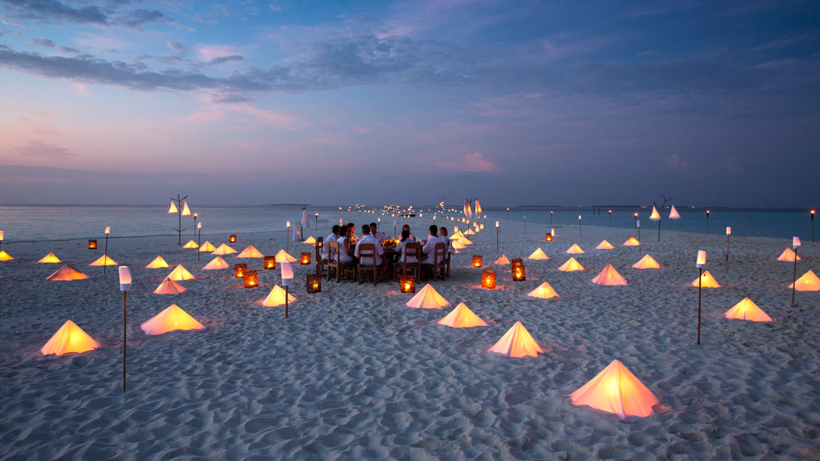 Soneva Fushi - Dinner auf Sandbank
