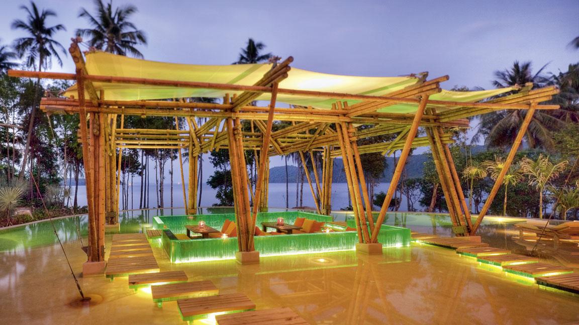 Soneva Kiri Resort Thailand - Main Pool Sunken Sala night by Jerome Kelakopian