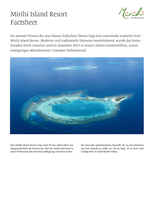 Mirihi Island Resort - Datenblatt