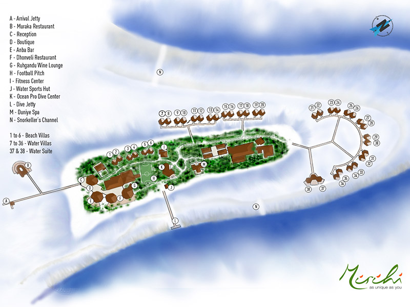 Mirihi Island Resort - Inselkarte