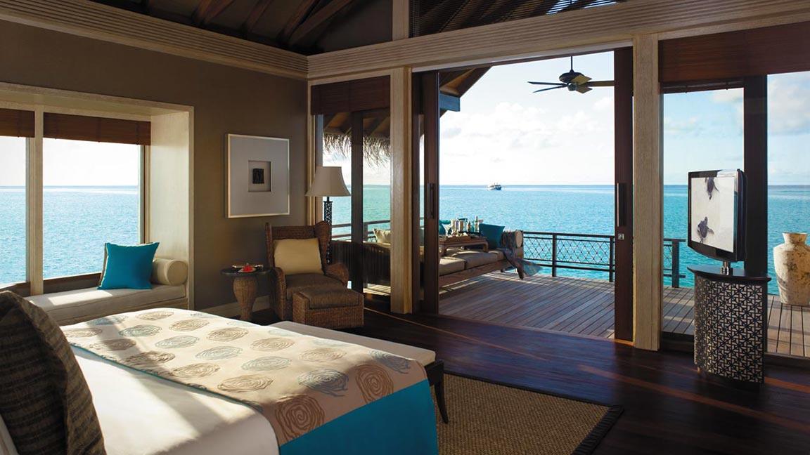 Shangri-La's Villingili Resort & Spa - Ausblick vom Schlafzimmer