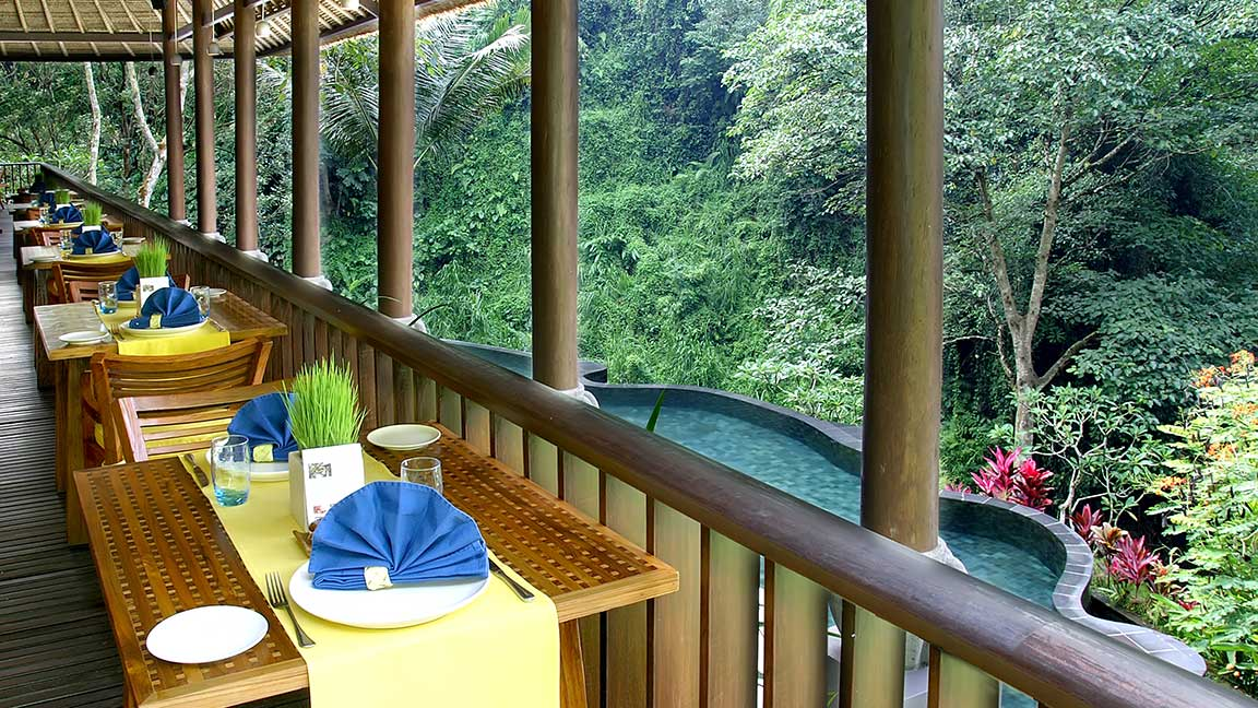 Maya Ubud Resort & Spa Restaurant mit Aussicht