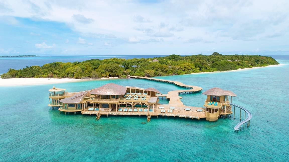 Blick auf Insel des Soneva Fushi Resorts