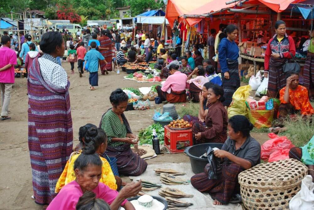 Marktszene auf Myanmar