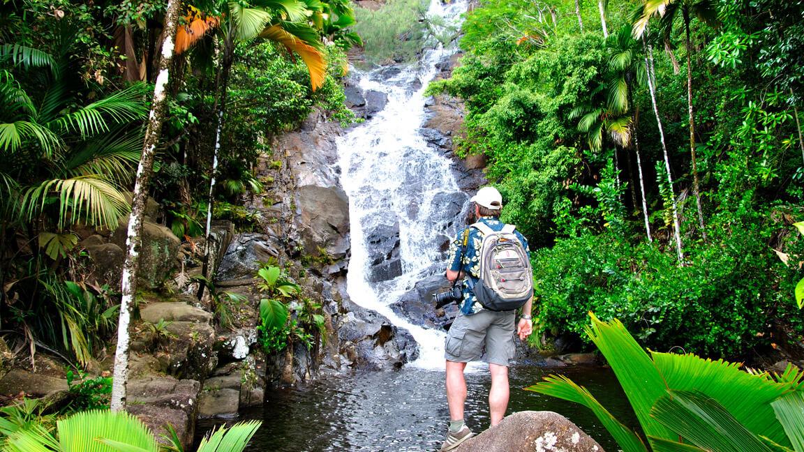 Port Glaud Wasserfall auf den Seychellen