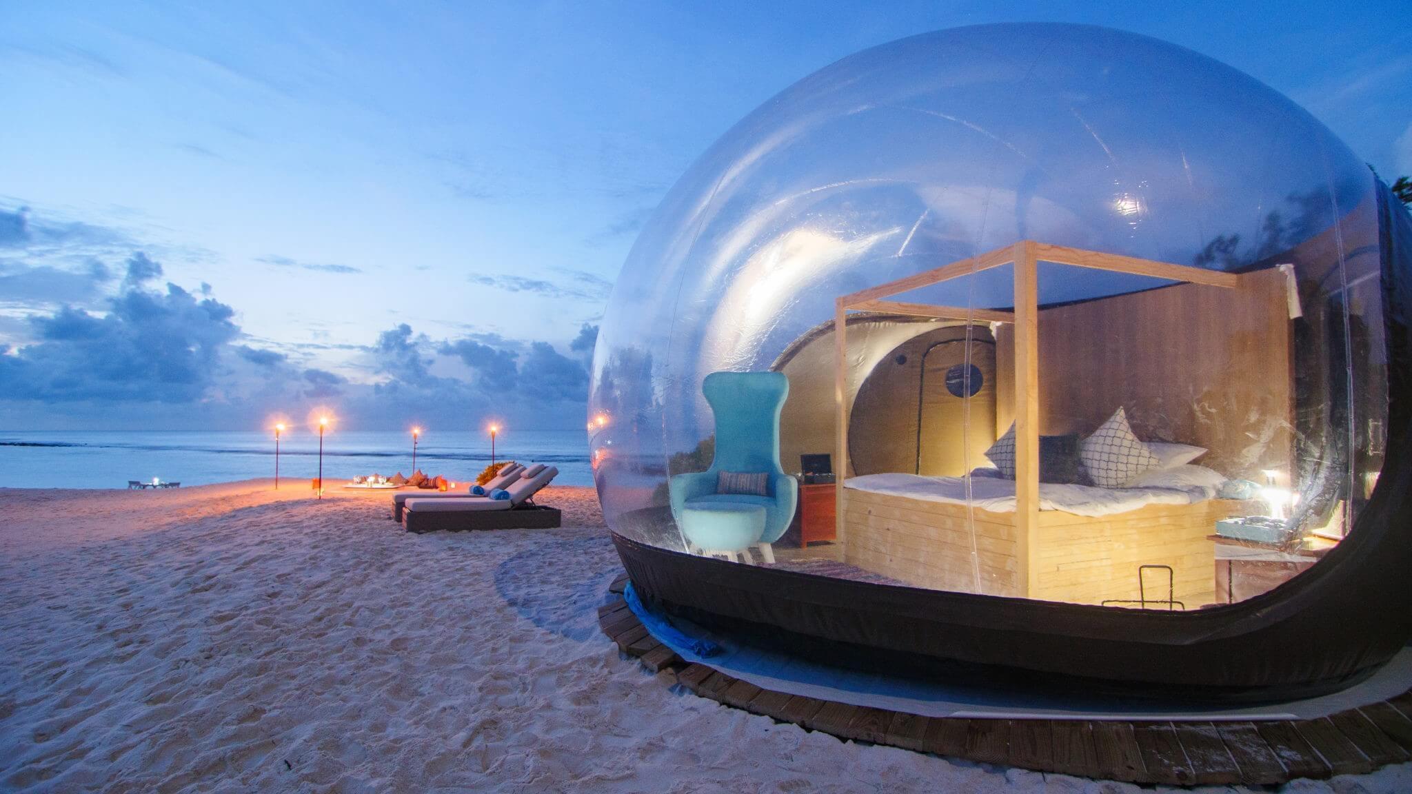 Romantik pur im Beach Bubble auf den Malediven