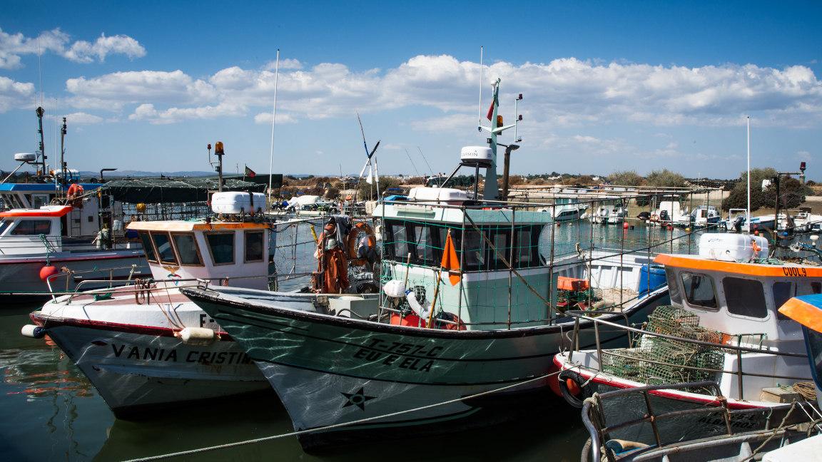 Fischerboote im Hafen an der portugiesischen Algarve