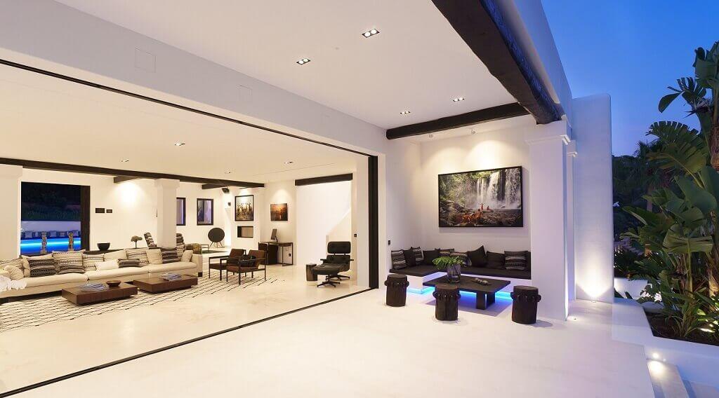 Villa Blanca auf Ibiza, offener Wohnbereich