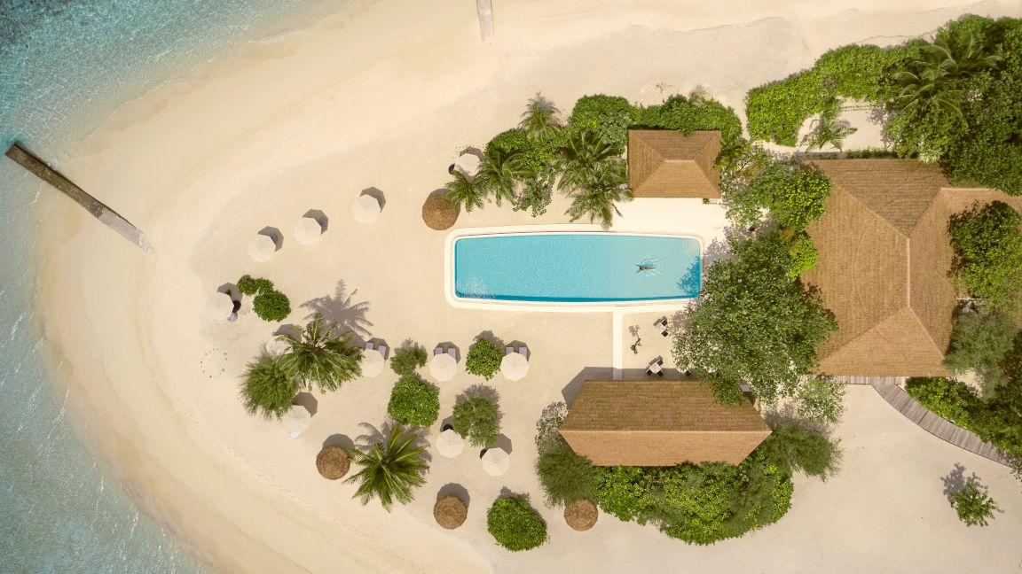 Cocoa Island Malediven Luftbild Pool