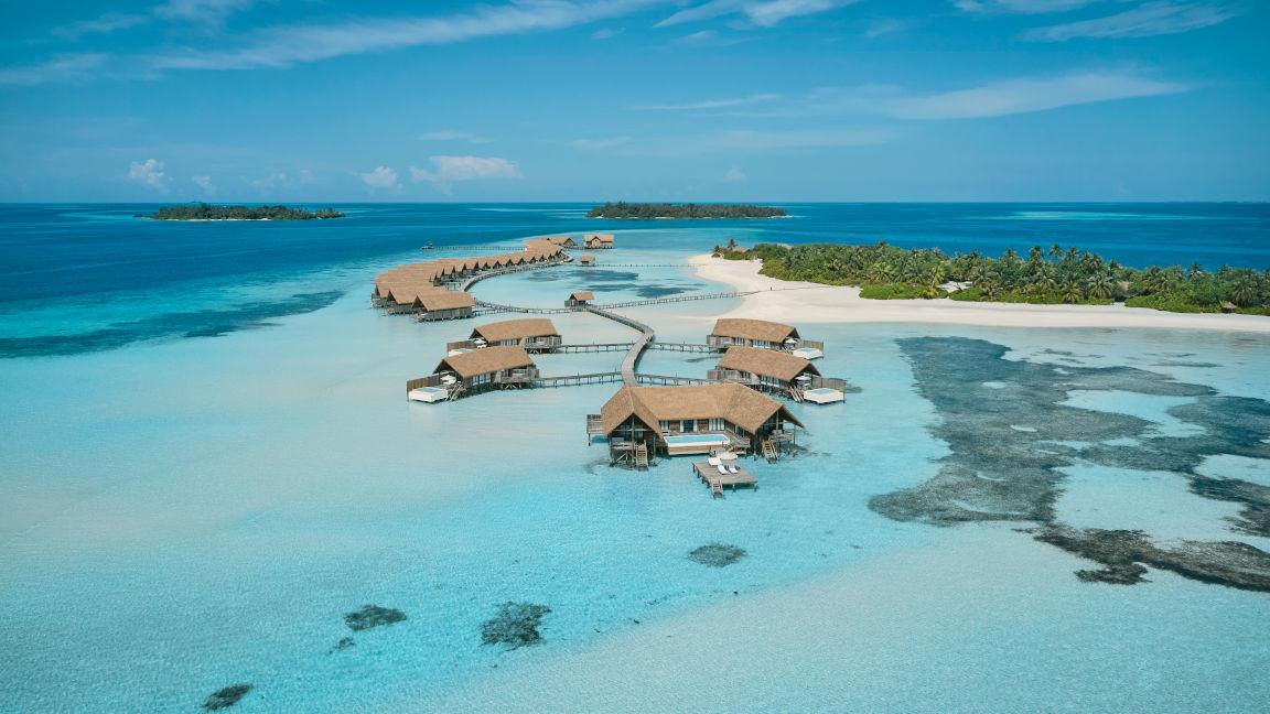 Cocoa Island Malediven Premiumvillas von oben
